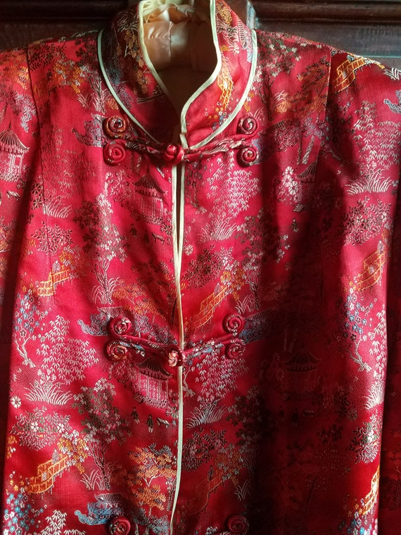 Vintage Chinese Robe, Peony Red
