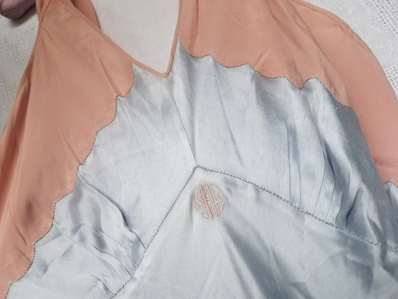 Antique Satin Nightgown, Handstitched, Monogrammed