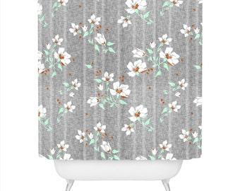 Duschvorhang Leinen Blumen Mint