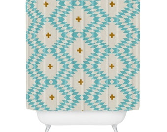 Native Natural Plus Turquoise Shower Curtain