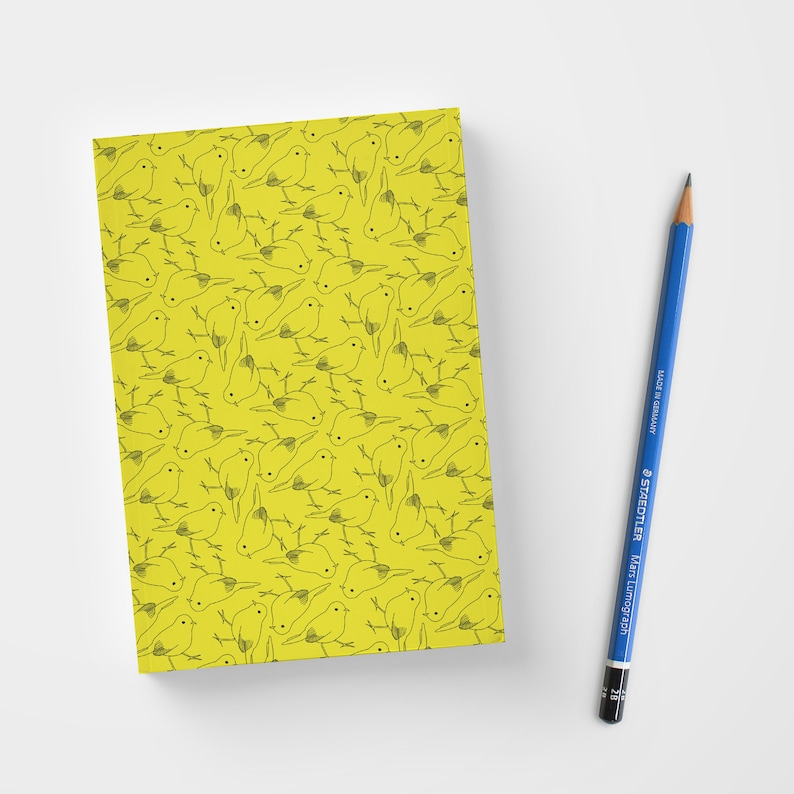 Yellow mini notebooks  Note Field with yellow birds cover  image 0