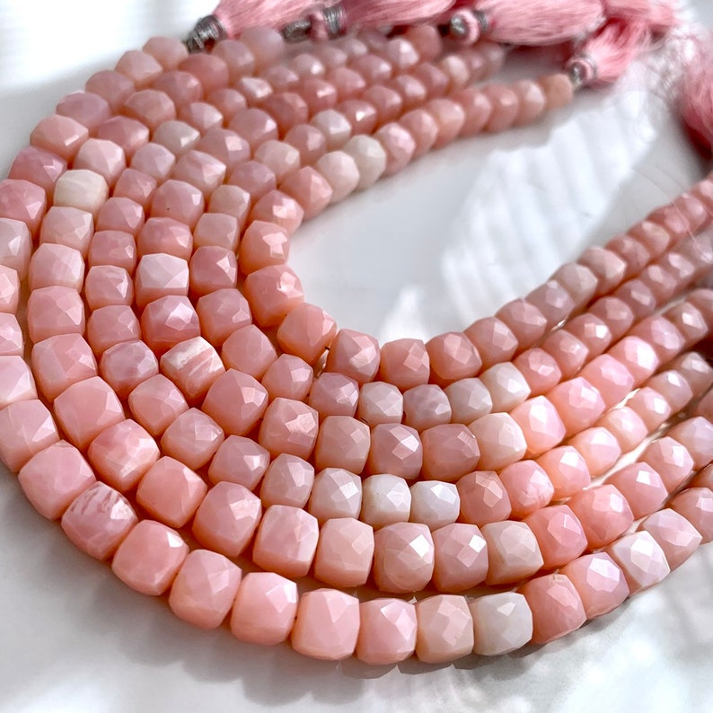 12 strand of pink opal cubes