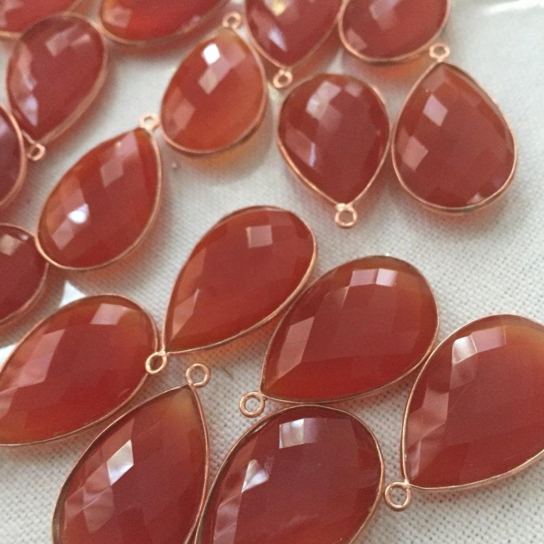 2 Amber chalcedony drops rosegold