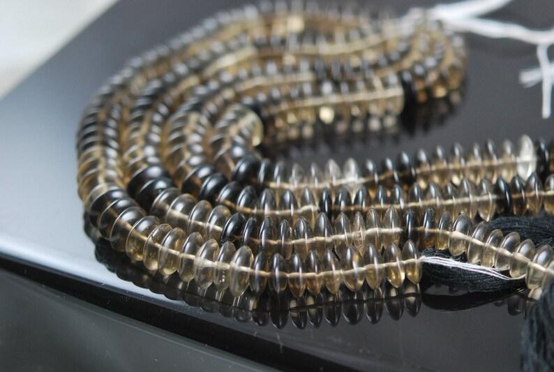 SUPER QUALITY 12 strand shaded smokey quartz smooth discs