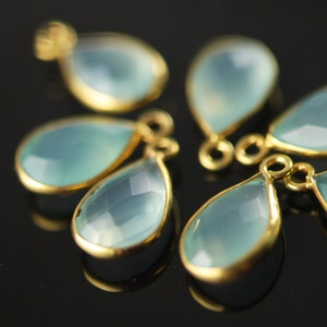 Matching light aqua chalcedony connectors in sterling silver 2 pieces 20.00 ON SALE 18.00