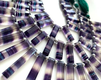 1/2 strand of faceted fluorite long rectangles