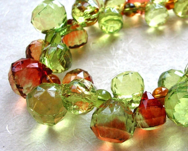 Green and Amber Faceted Grapes Necklace image 0