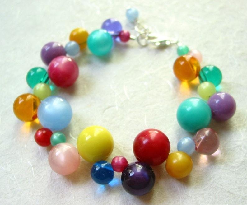 Rainbow Vintage Lucite Bracelet image 0