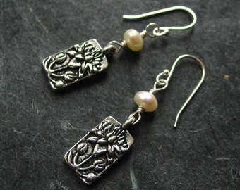 Silver Lotus and White Pearl Earrings