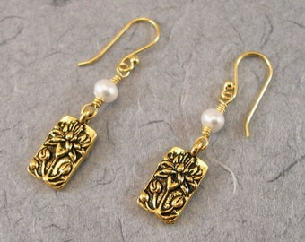 Gold Lotus and White Pearl Earrings