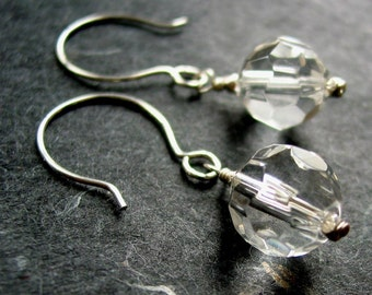 Clear Faceted Glass Earrings