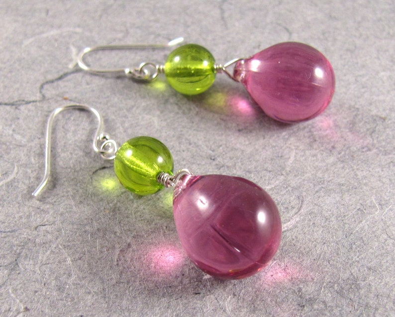 Fuchsia and Green Bubbles Earrings image 0