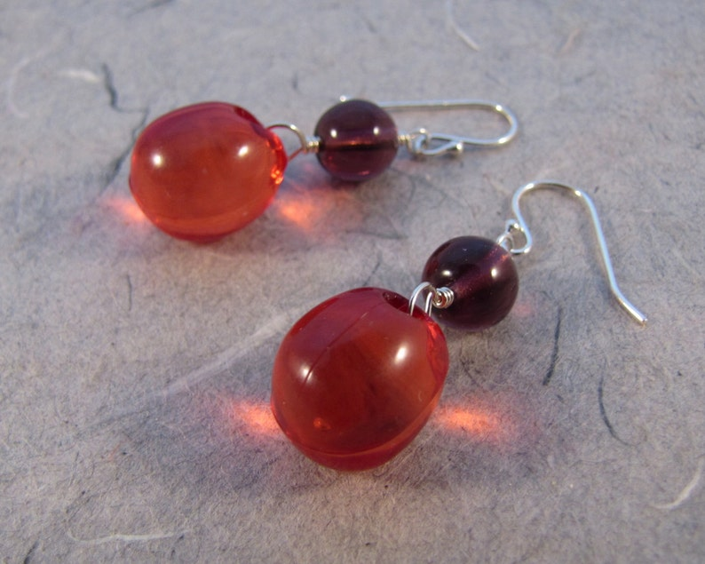 Red and Purple Bubble Earrings image 0