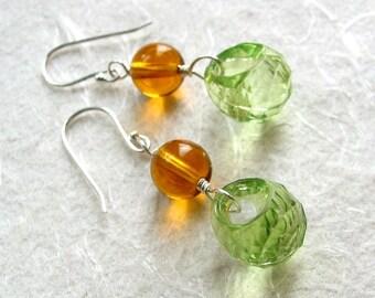 Green and Amber Grape Earrings