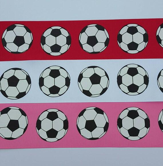 By The Yard 7//8 Inch Printed Soccer Balls Grosgrain Ribbon Lisa