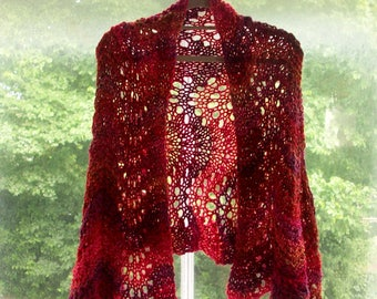 Lace wrap scarf, vegan, statement piece, warm cosy stole, variegated reds by SpinningStreak