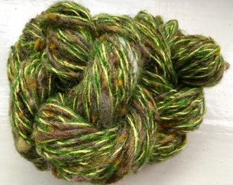 Handspun art yarn, wool, curls, kid mohair, Angelina sparkle by SpinningStreak