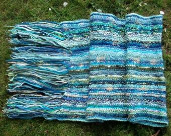 Knitted wedding shawl, aqua, summer wrap, long wide scarf, warm cosy stole by SpinningStreak