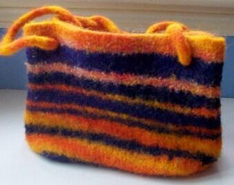 Felted bag, medium tote bag, navy, orange, striped bag, knit, ooak