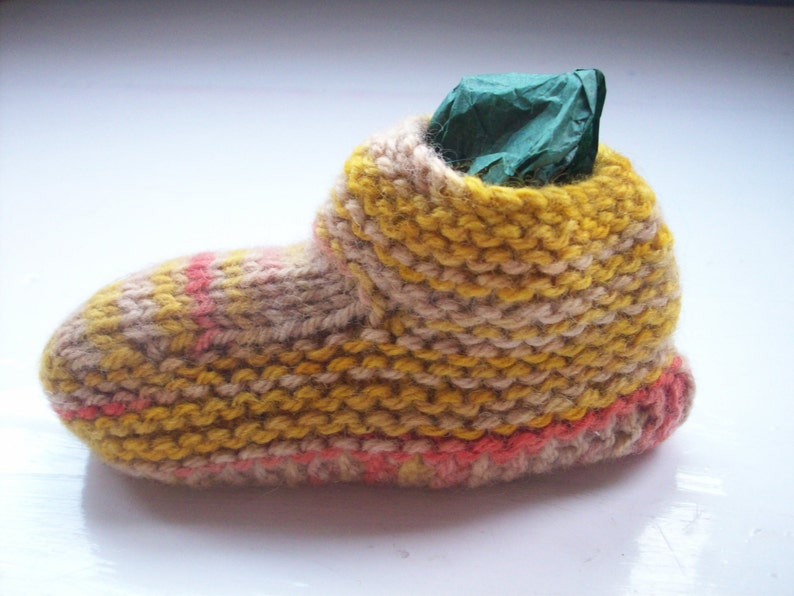 unique hand dyed wool Baby hat bootees set woodland beige yellow red unisex  by SpinningStreak