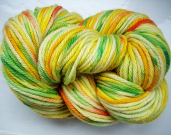Hand painted merino yarn 100g dk yellow gold lime green scarlet red by SpinningStreak