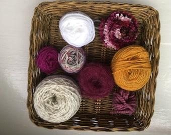 DESTASH- big grab bag assorted yarn 159g/5.6ounces plum, mustard GB0118-02