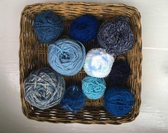 DESTASH- big grab bag assorted yarn 154g/5.4 ounces, all blue GB0118-03