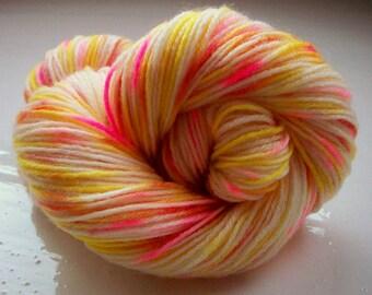 Sock yarn hand painted merino yellow pink brick red 100g