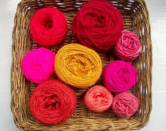 DESTASH- big grab bag assorted yarn 155g/5.5 ounces rich dark reds and rust GB052017-3