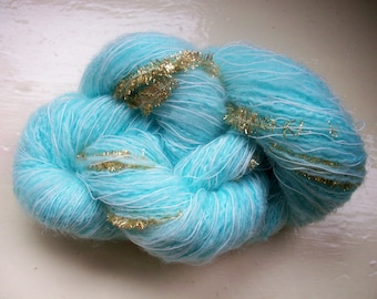 Hand painted novelty yarn 50g  light turquoise