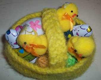 Easter Basket - small yellow knit container for eggs