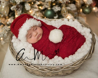 baby santa hat newborn santa hat long tail hat santa christmas hat christmas hat santa photo prop infant toddler santa claus hat