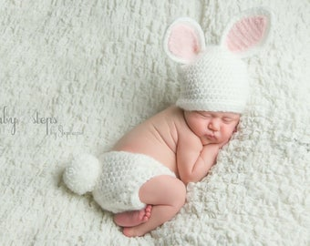 4ee6cdead23 Baby Bunny outfit - Crochet Bunny Hat Diaper Cover - Baby animal hat - newborn  photo prop - crochet baby set - character hat - Easter Outfit