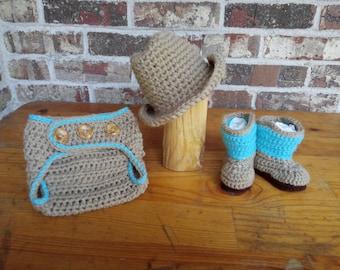 7de8b4510ec Cowboy Hat boots diaper cover 0 3 6 12 months as shown or custom colors  Newborn prop