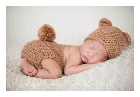 0 to 3m Newborn Bear Hat Purple Baby Hat and Mittens Baby Shower Gift Crochet Flower Baby Bear Hat Set Infant Photo Prop