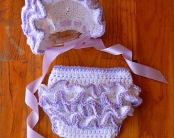 Baby girl Hat bonnet ruffle diaper cover bloomers girl ruffle bonnet newborn hat  newborn photo Prop newborn 0 3 6 12 months
