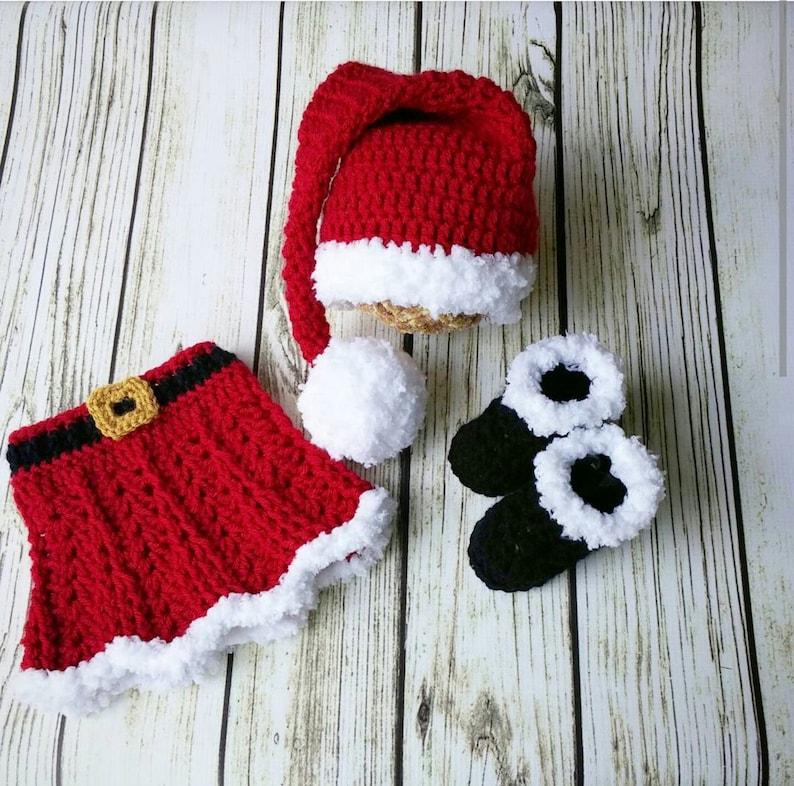 682953f33080 Crochet Santa Outfit Baby GirlBaby Girl Santa Suit Santa | Etsy