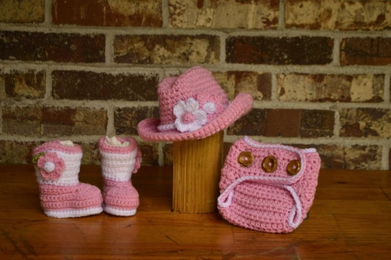 7b6fa69a46b Girl cowboy Hat boots diaper cover 0 3 6 12 months as shown or