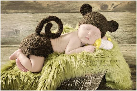 Affe Hut häkeln pelzigen Monkey Hut und Windel Set