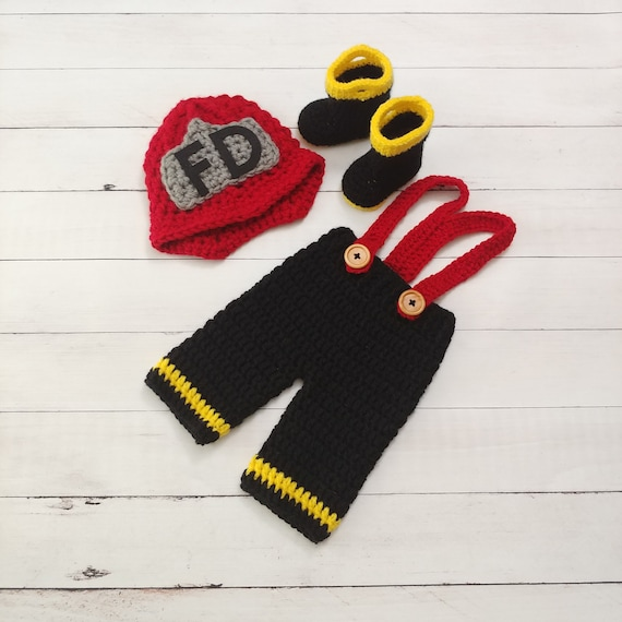 b6266df70d2 Firefighter Outfit-Firefighter Helmet-Crochet Fireman Set-Baby