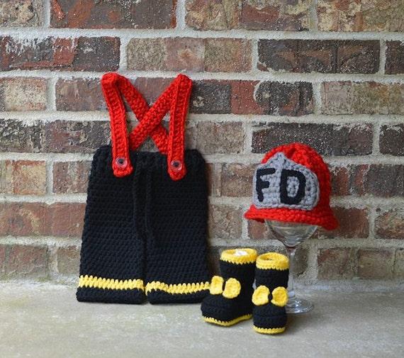 Girl Firefighter Hat Pants Boots Set Girl Fireman Set Baby