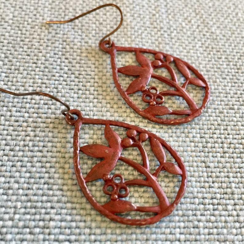 nature lover gift Dark red floral teardrop earrings cottagecore farmcore flowers minimalist earrings boho patina jewelry dainty earrings