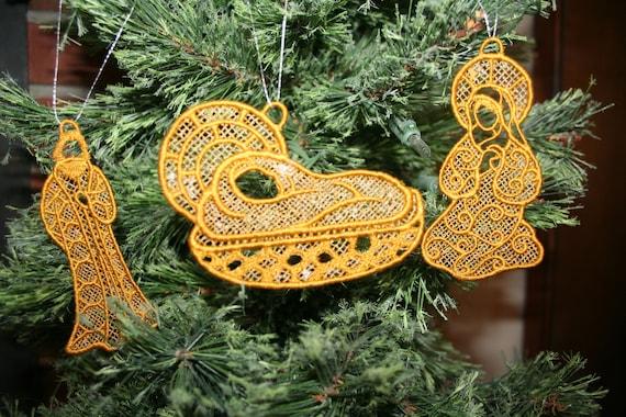 Embroidered Lace Nativity,Christmas Nativity,Jesus,Mary,Joseph,Star,Angel,Christmas Ornaments,Gold Christmas Ornaments,3D   SEWBUSY12 FSL
