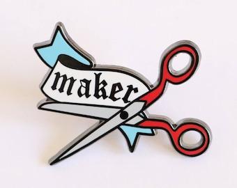 Maker Pin, crafty enamel pin, hard enamel pin, lapel pin, enamel pin set, artist enamel pin, cute enamel pin, scissor enamel pin,
