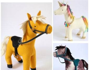 Stable Mates: horse sewing pattern, unicorn sewing PDF, stuffed toy unicorn,felt horse PDF, unicorn pattern,plush unicorn,toy donkey