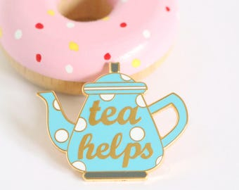 Blue Tea enamel pin, crafty enamel pin, hard enamel pin, enamel pin set,  food enamel pin, teapot enamel pin, pingame, tea lover pin