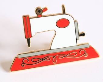 Sewing machine enamel pin, crafty enamel pin, sewing enamel pin, hard enamel pin, enamel pin set, pingame, RED