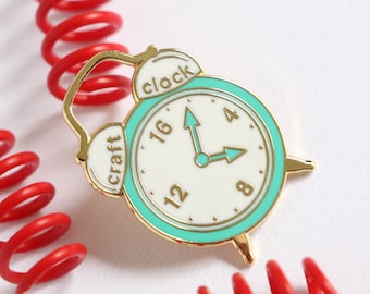 Green Craft clock, hard enamel pin, enamel pin set, cloisonne, craft enamel pin, lapel pin, pin badge, kawaii enamel pin, retro enamel pin,