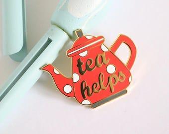 RED Tea enamel pin, crafty enamel pin, hard enamel pin, enamel pin set, food enamel pin, teapot enamel pin, lapel pin, tea lover pin