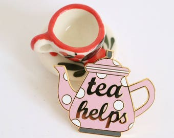 Broche émail thé, broche émail rusé, broche émail dur, ensemble broche émail, broche émail théière, pingame, épingle de thé pot émaillé, broche amateur de thé